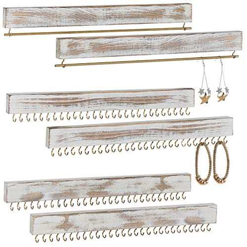 MyGift 3-Piece Wall Mounted Rustic Whitewashed Wood Jewelry Racks, Set of 2