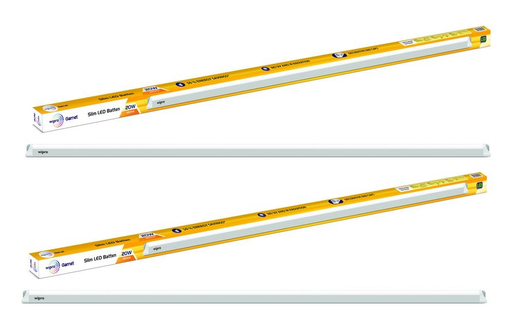 Wipro Garnet 20-Watt Slim LED Batten (Pack of 2, White)