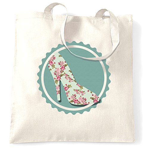 White Vintage À Motif Shoe Floral Design Citation Imprimé Sac Slogan Premium Main OqPx6O