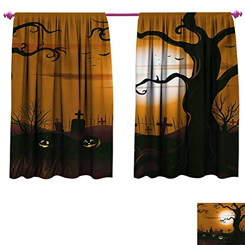 cobeDecor Halloween Customized Curtains Leafless Creepy Tree with Twiggy Branches at Night in Cemetery Graphic Drawing Waterproof Window Curtain W72 x L63 Brown Tan
