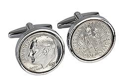 62nd Birthday for Men-1955 Genuine 10 Cent Cufflinks-100% Satisfaction Guarantee