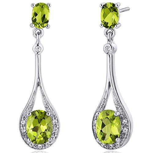 Peridot Dangle Earrings Sterling Silver 400 Carats