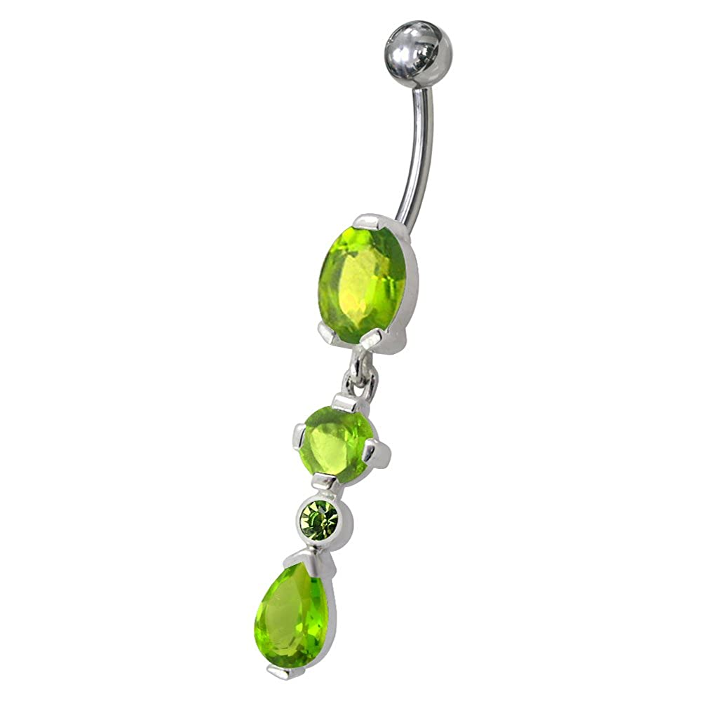 Fancy Tri Shape Gemstone Dangling 925 Sterling Silver with Stainless Steel Belly Button Navel Rings