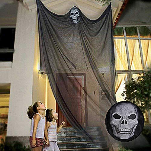 TALI 10ft Halloween Hanging Ghost Prop Hanging Skeleton Flying Ghost, Halloween Hanging Decorations for Yard Outdoor Indoor Party Bar(Black) ()