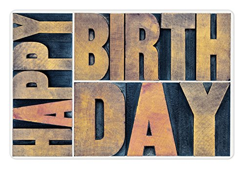 Ambesonne Birthday Pet Mat for Food and Water, Letterpress Wood Type Printing Blocks Rectangles Typography Art Print, Rectangle Non-Slip Rubber Mat for Dogs and Cats, Light Brown Dark (Letterpress Type Printing)