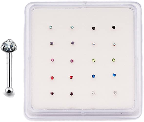Lot 20 Sterling Silver Straight Nose Stud Ring 1.5mm 2mm or 2.5mm CZ 22G