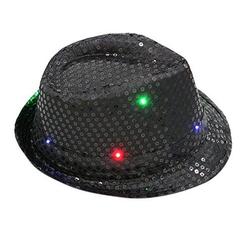 Women Men LED Fedora Hats Flashing Led Novelty Hats For Adults Jazz Fedoras Dance Hat Adult Black Sequin Fedora