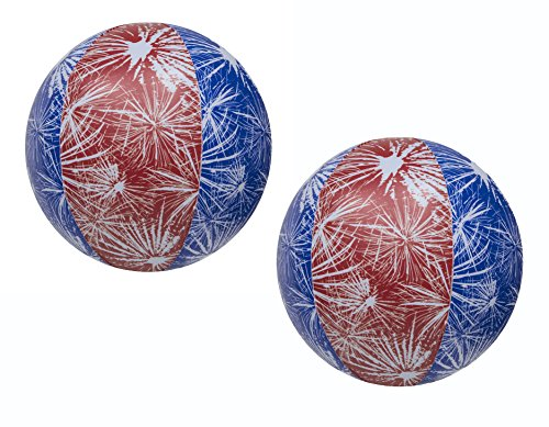 (Impact Activated Light-Up Beach Ball with Fireworks Design - 14in diameter 2 Pk)