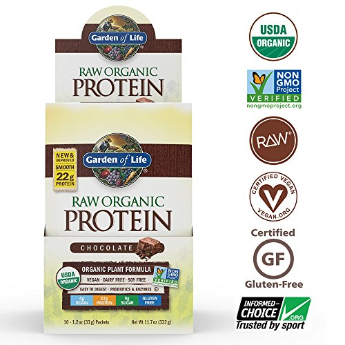 Garden of Life Organic Vegan Protein Powder with Vitamins and Probiotics Raw Protein Shake, Sugar Free, Chocolate, 10 Count Tray