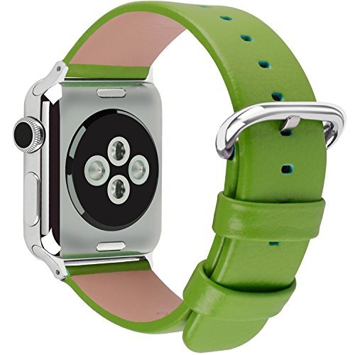 15 Colors for Apple Watch Bands 42mm and 38mm, Fullmosa Yan Calf Leather Replacement Band/Strap with Stainless Steel Clasp for iWatch Series 0 1 2 Sport and Edition Versions 2015 2016 2017, 38mm Green