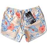 Girls Casual Shorts Chinese Porcelain Blue White Summer Board Short Your Travel Trial, Fashion Classic Design Suit Indoor Outdoor Wear (S Size,Off White)
