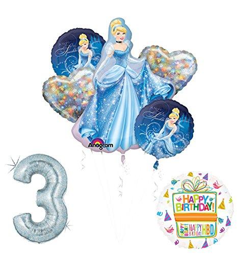 Cinderella 3rd birthday party supplies and princess balloon -