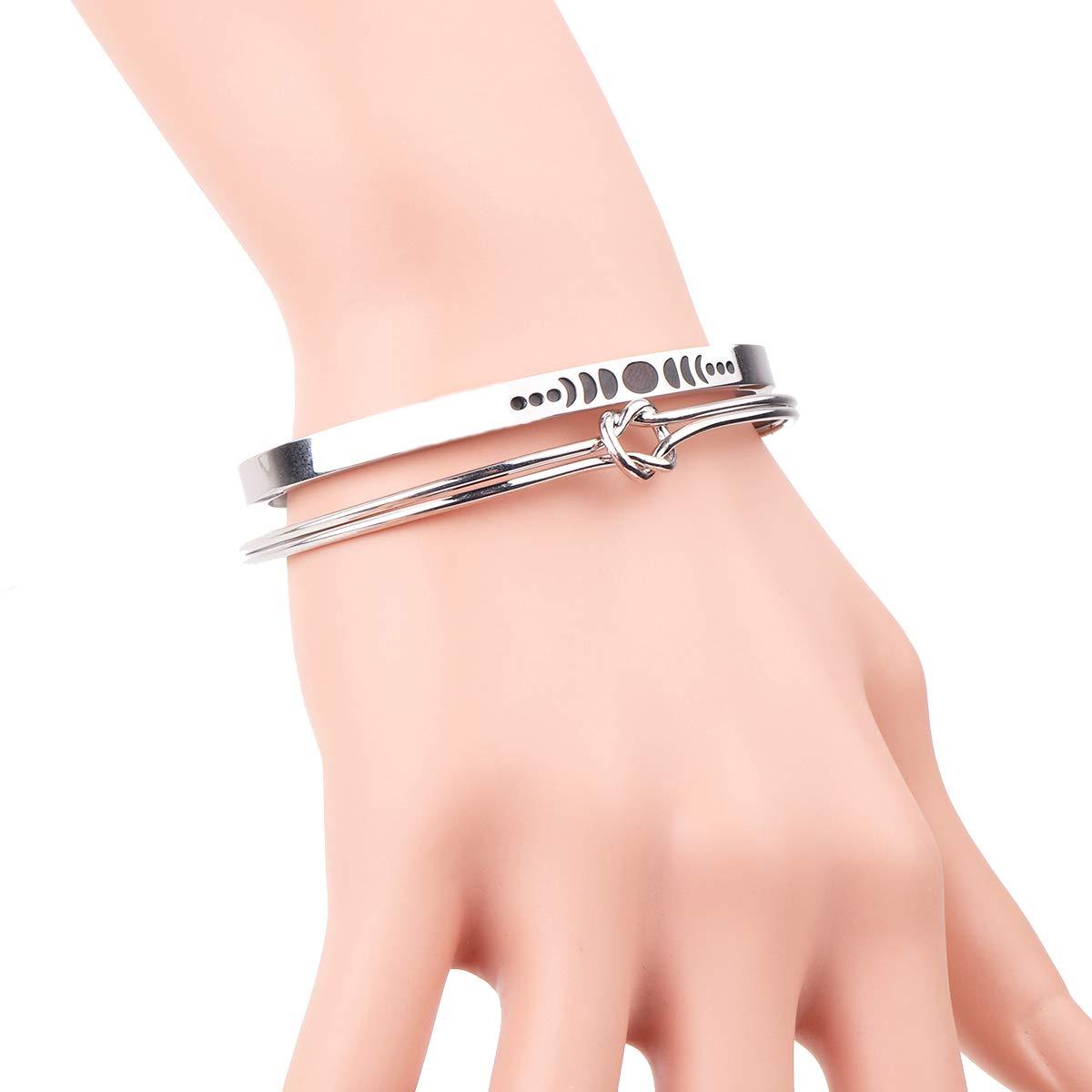 RUNXINTD Moon Phases Astrology Bracelet Pendant Triple Goddess Jewelry with Love Knot Bracelet 2pcs/Set Birthday Gift for Womens Girls (Silver-Cuff Bracelet2pcs/Set)