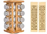 11 Revolving Bamboo Spice Storage Rack with 16 Glass Jars by Trademark Innovations