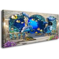 DZL Art Canvas 3D Dolphin Turtle & Fish Background Wall Decor