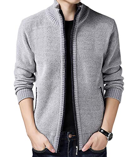 Fuwenni Men's Casual Cashmere Zip Knitted Cardigan Sweater Light Grey US XL/Asia 3XL ()