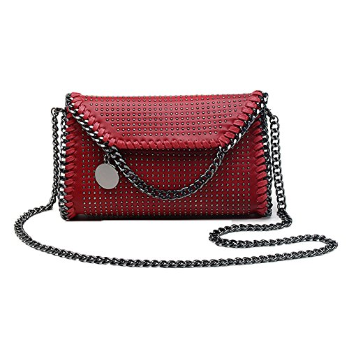 Cross Women Valleycomfy Handbag Metallic Bag Bags Red2 Pu Strap Shoulder Chain Clutches Elegant body Bag Leather vxxdwBq