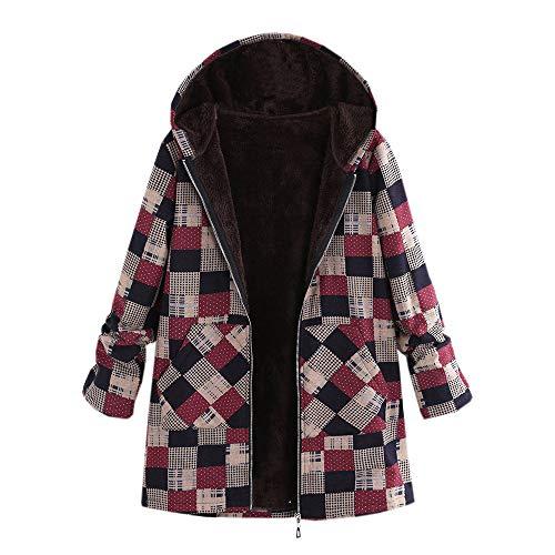 Limsea Plus Size Women Coat Outwear, Hooded Cotton Linen Fluffy Fur Zipper Long Sleeve XXXXX-Large Brown