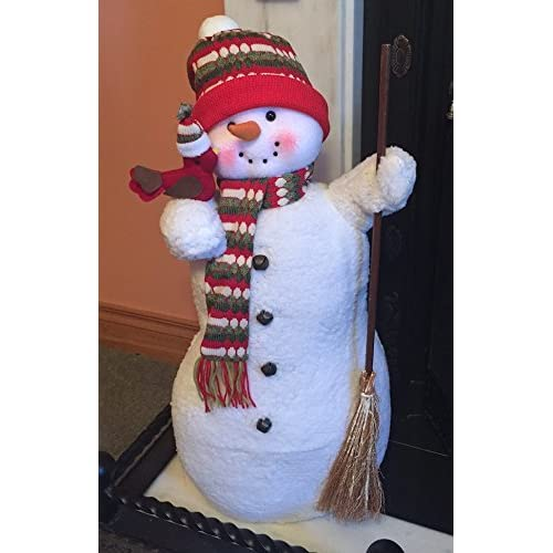 wheels n bits new xl large 70cm ice frozen snowman christmas figure xmas decoration fire side