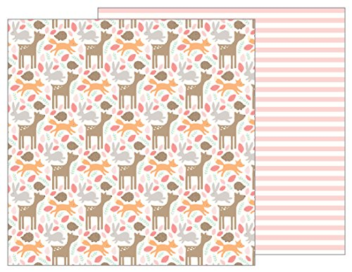 American Crafts Woodland Baby Girl 25 Pack of 12 x 12 Inch Patterned Paper Piece ()