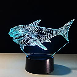 3D Night Light, LAKA 3D visualization Illusion LED Table Light with Touch Button, 7 Colors Change Touch Desk Lamp for Bedroom Children Room Decorative or Gifts (Shark)