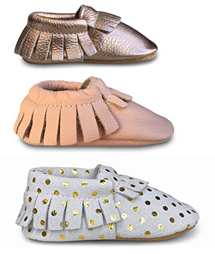 Lucky Love Baby Moccasins • Premium Leather • Infant, Baby & Toddler Shoes for Girls and Boys (Multi 6-24 Months, Girl Walker Giftset - 3 Pack)