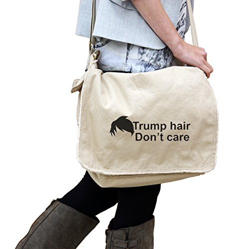 Funny Political Trump Hair Dont Care 14 Oz  Authentic Pigment Dyed Raw Edge Messenger Bag Tote