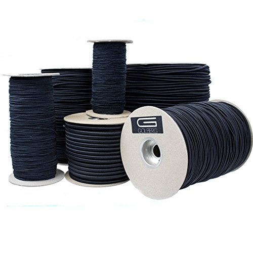 "Golberg DiamondWeave Shock/Bungee Cord - 3/16"", 1/4"", 1/16"", 1/8"", 1/32"", and 2.5 mm - Black"
