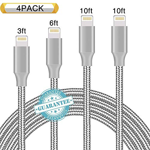 DANTENG Phone Cable 4Pack 3FT 6FT 10FT 10FT Nylon Braided Charging Cables USB Charger Cord, Compatible with Phone Xs MAX XR X 8 Plus 7 6 6 Plus 5S SE Pad Pod Nano-Grey
