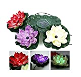 Solar Powered RGB Colors LED Floating Lotus Flower Lamp Night light For Pond Garden Pool