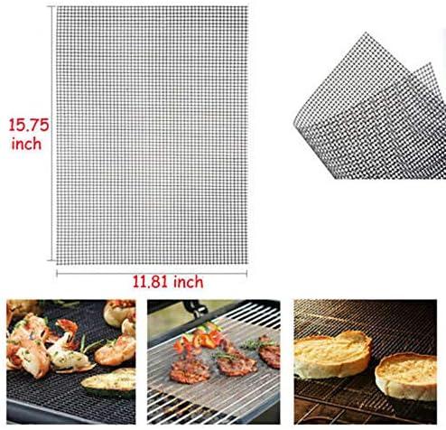showsing Tapis de Cuisson Tapis BBQ Barbecue Plaque Feuille de Cuisson Four pour Barbecue gaz Charbon électrique 100% Anti-adhérent 3Pcs