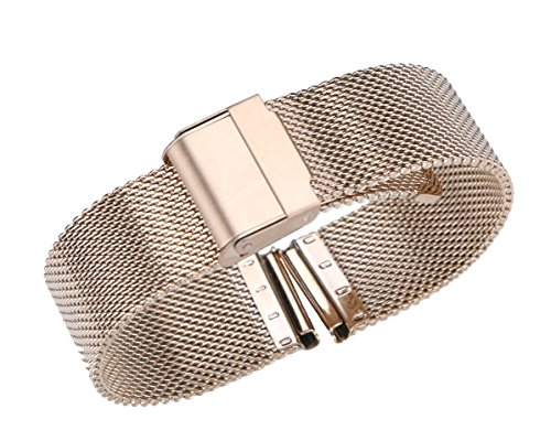 Esq Rose Gold Wrist Watch (22mm Superior Chainmail Mesh Watch Strap Replacement Solid 316L Stainless Steel in Rose Gold Hook Buckle)
