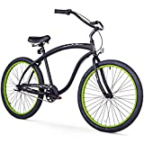 Firmstrong Bruiser Man 3-Speed Beach Cruiser Bicycle, 26-Inch, Matte Black/Green Rims