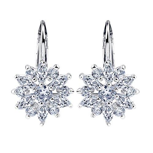 BAMOER Christmas Snowflake White Gold Plated Earrings Cubic Zirconia Drop Dangle Earring Gift