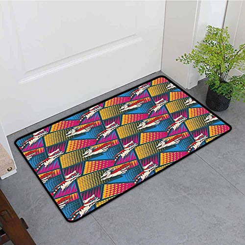 YGUII Print Bath Mat,Superhero Funny Cartoon Cats and Dogs in Cape and Mask Heroic Costumes Fiction Fantasy Art,Easy Clean Rugs,16X23.6in (40x60cm) Multicolor]()