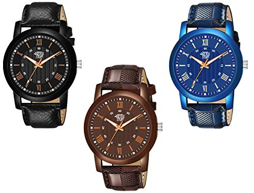 Swadesi Stuff Leather Strap Pack of 3 Multi-Color Dial Analogue Watch for Men and Boys