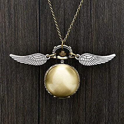 HT TOYS Harry Potter Cosplay Golden Wings Snitch Toy Watch Quartz Pocket Watch Necklace Quidditch Balls Snitch Necklace Toy