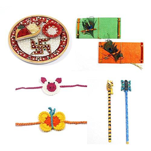 Handmade Crafted Raksha Bandhan Festival Competir regalo pack Rakhi Combo (1Marbal Thali, 2Crochet Rakhi, 2Kids...