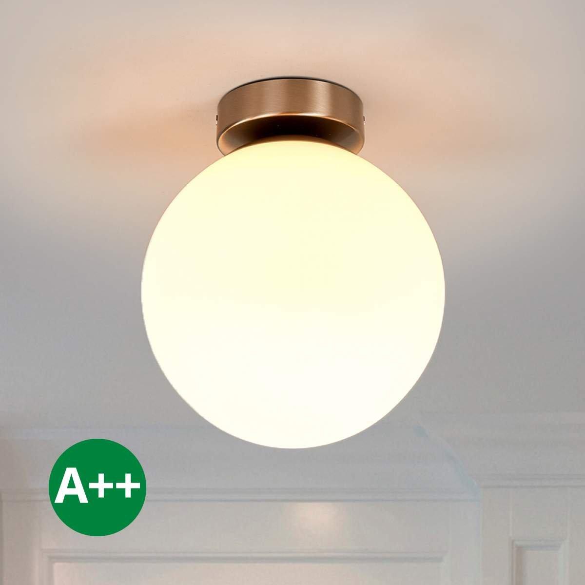 Lampenwelt DeckenleuchteLennie dimmbar (spritzwassergeschützt) (Modern) in Weiß aus Glas u.a. für Badezimmer (1 flammig, E27, A++) | Bad-Deckenleuchte, Deckenlampe, Lampe, Badezimmerleuchte [Energieklasse A++]
