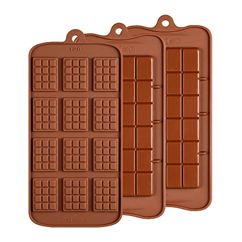 Silicone Break Apart Chocolate Molds - Candy Protein and Engery Bar Silicone Mold Set of 3