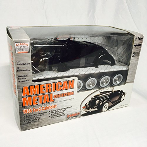 American Metal Die Cast Model Kit 1/24 Scale 1936 Ford Cabriolet Classic Black