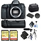 Canon EOS 6D Mark II DSLR Camera (Body Only) Battery Grip, Two Batteries, Two Memory Card Accessories Kit International Model