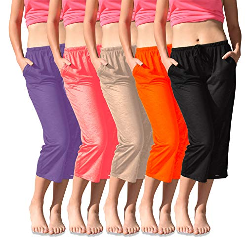 - Sexy Basics Women's 4 Pack Casual Active Relaxed Flowy Fit Capri Semi Sheer Cropped Bermuda Short Pants (4 Pack- Coral/Orange/Purple/Khaki, Large)