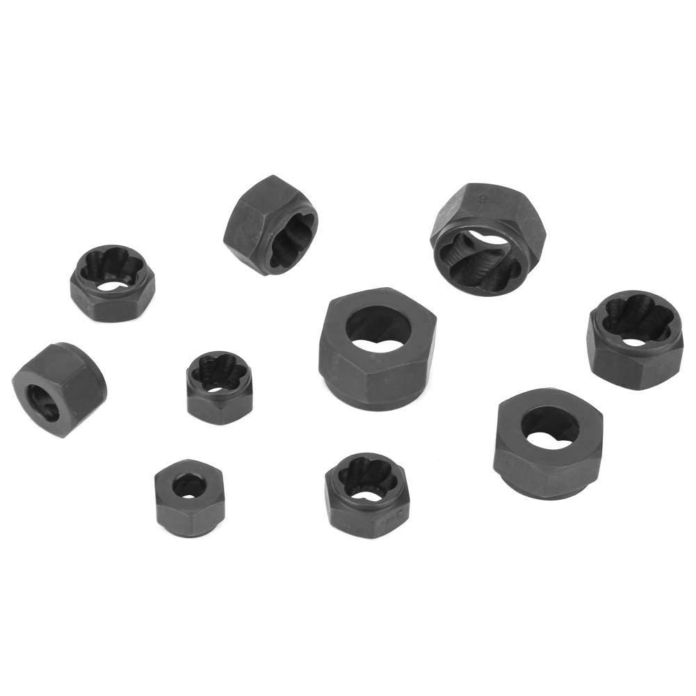 10pcs Damaged Nut Bolt-Grip Extractor Set Bolt Remover Stud Metric Broken Bolt Removal Kit Inside Size 9-19mm