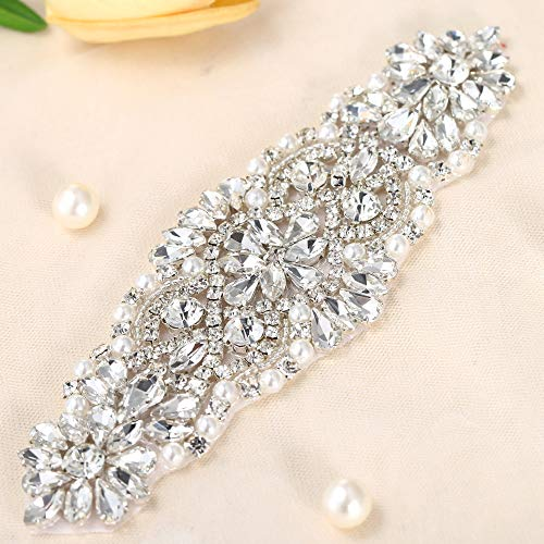 FANGZHIDI Silver Bridal Rhinestone Applique for DIY Wedding Sashes Belts-1 Piece(8.12.4in)