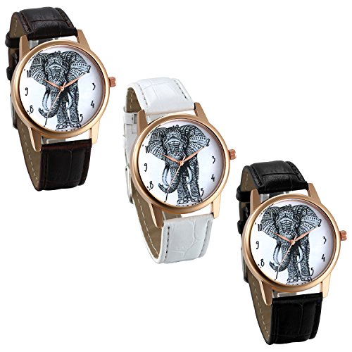 JewelryWe 3 PACK Wholesale Elephant Sketch Dial Easy Reader Leather Band Analog Quartz Wrist - Readers Wholesale