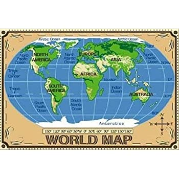 Amazon Com Fun Rugs Tsc 153 5376 World Map Area Rug 5
