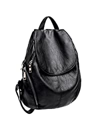 UTO Women Backpack Purse PU Washed Leather Large Capacity Ladies Rucksack Shoulder Bag