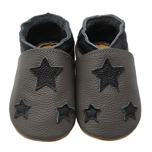 Babyschuhe Hausschuhe Lederschuhe Sterne Weiche Lernlaufschuhe Krabbelschuhe Lauflernschuhe Kleinkind YIHAKIDS Grau pnXEAYn6