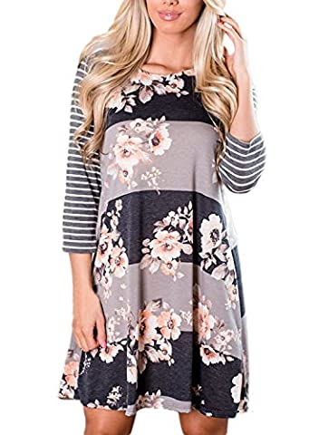 AlvaQ Women Summer 3 4 Long Sleeve A Line Casual T Shirt Dress Midi Tunic Tshirt Dresses Plus Size - Maternity Print Tunic